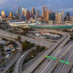 Empty freeways in Los Angeles.