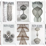Renderings for Ruth Asawa stamps from the United States Postal Service, showing various views of her wire sculptures.
