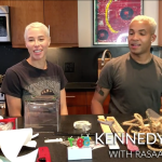 Still from a video tutorial offering tips for how to make art at home by artist Kennedy Yanko and her partner.