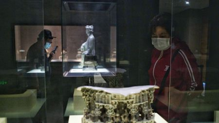 Visitors donned face masks to visit