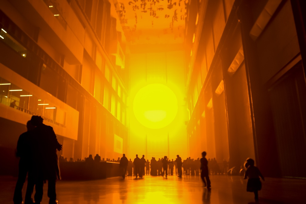 Installation view of Olafur Eliasson's 'The Weather Project' (2003) at Tate Modern, London.