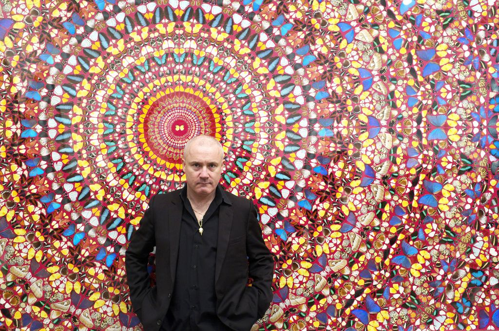 Damien Hirst at the opening of his 2012 Tate Modern survey.
