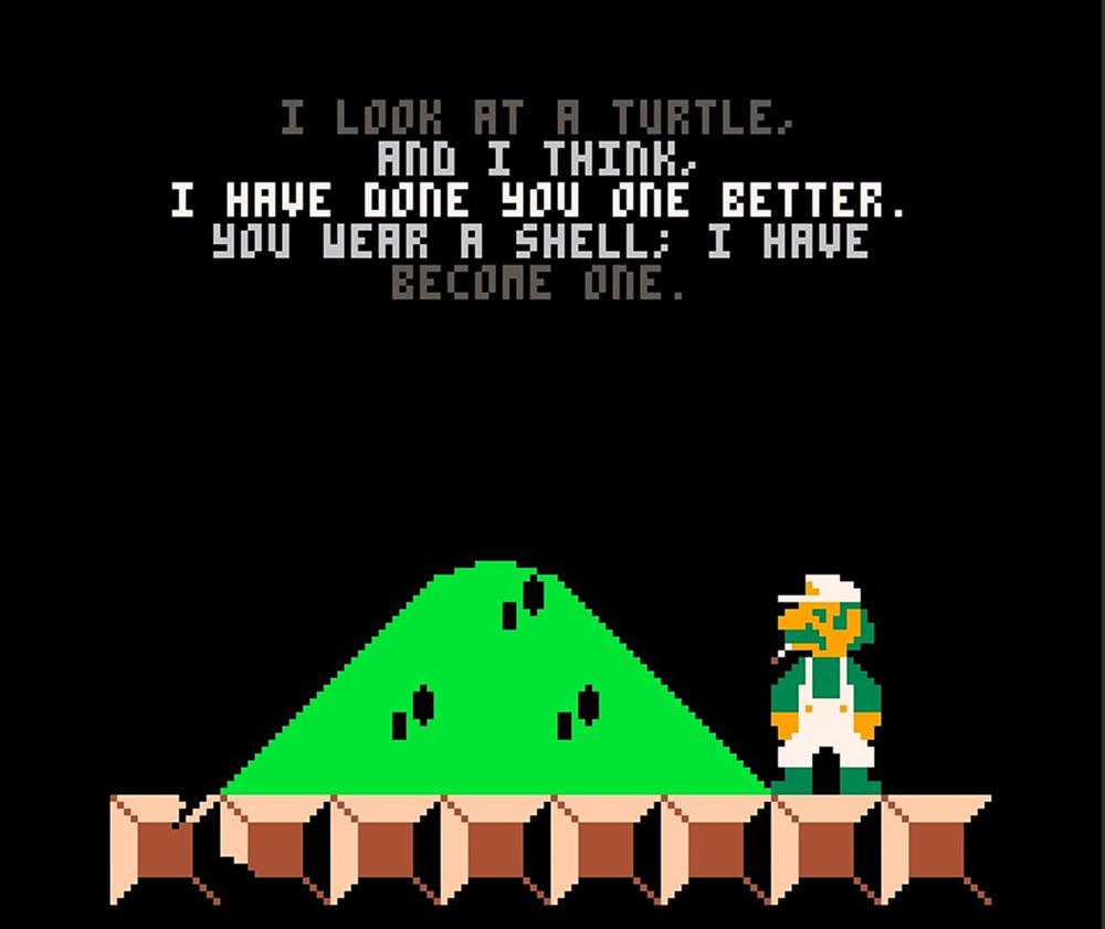 Una delle opere esposte all'oMoMA. Si tratta di Ennuigi (2015), di Josh Millar, ispirato al videogioco di Super Mario e del suo fidato amico Luigi. Come vederlo? Basta leggere le notizie dal mondo dell'arte di questa settimana. (fot. Josh Millar).