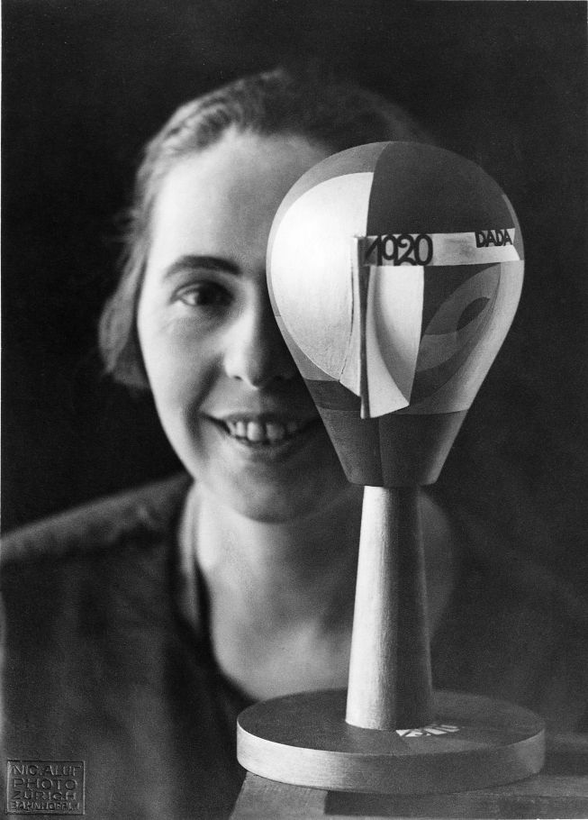 Sophie Taeuber-Arp with one of her