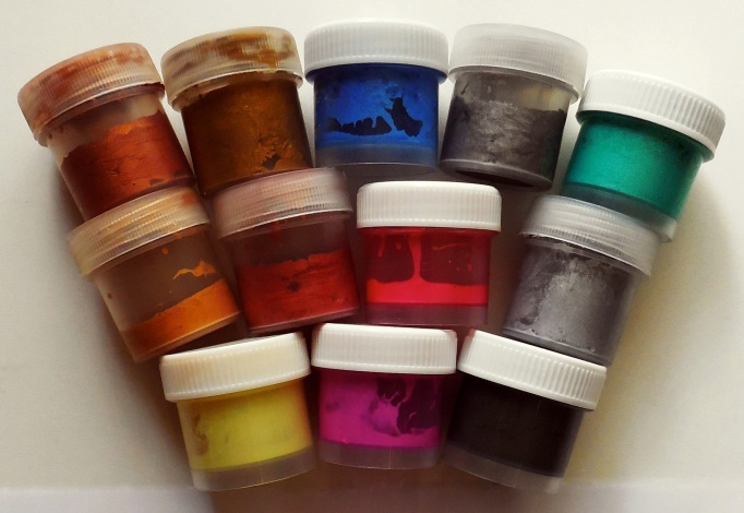 Acrylic paints used in jars of