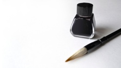 Ink bottle with brush for painting chinese painting