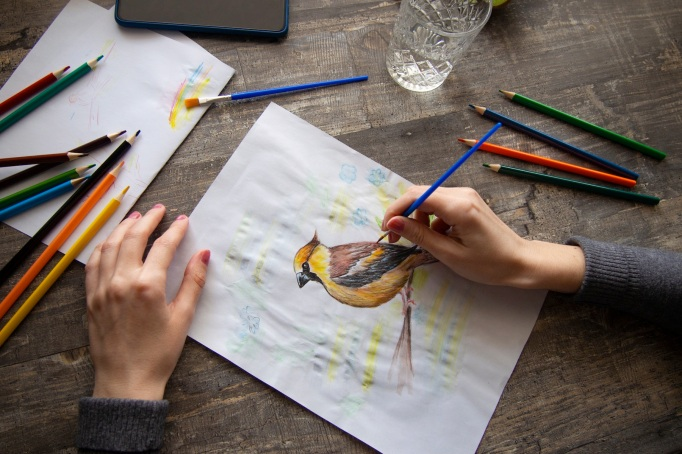 a young girl draws with watercolor