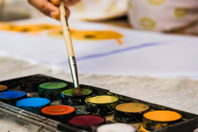 Watercolor palette with brightly colored paints