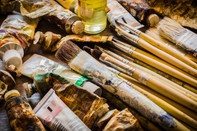 Paintbrushes and oil paints