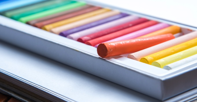 set of colorful oil pastels