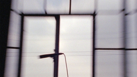The grid of a windowpane zooms