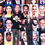Meg Whitman and Jeffrey Katzenberg stand in front of a screen with a grid of celebrities' faces