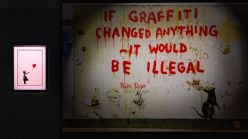Artworks by Banksy in an exhibition in Yokohama, Japan
