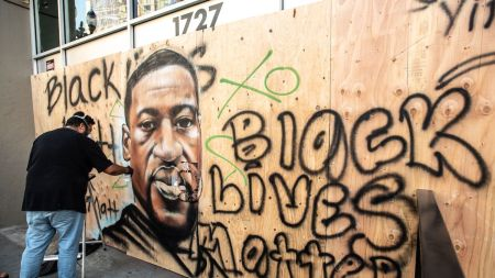 A mural devoted to George Floyd