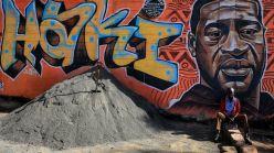 A mural in Kenya in memory of George Floyd.
