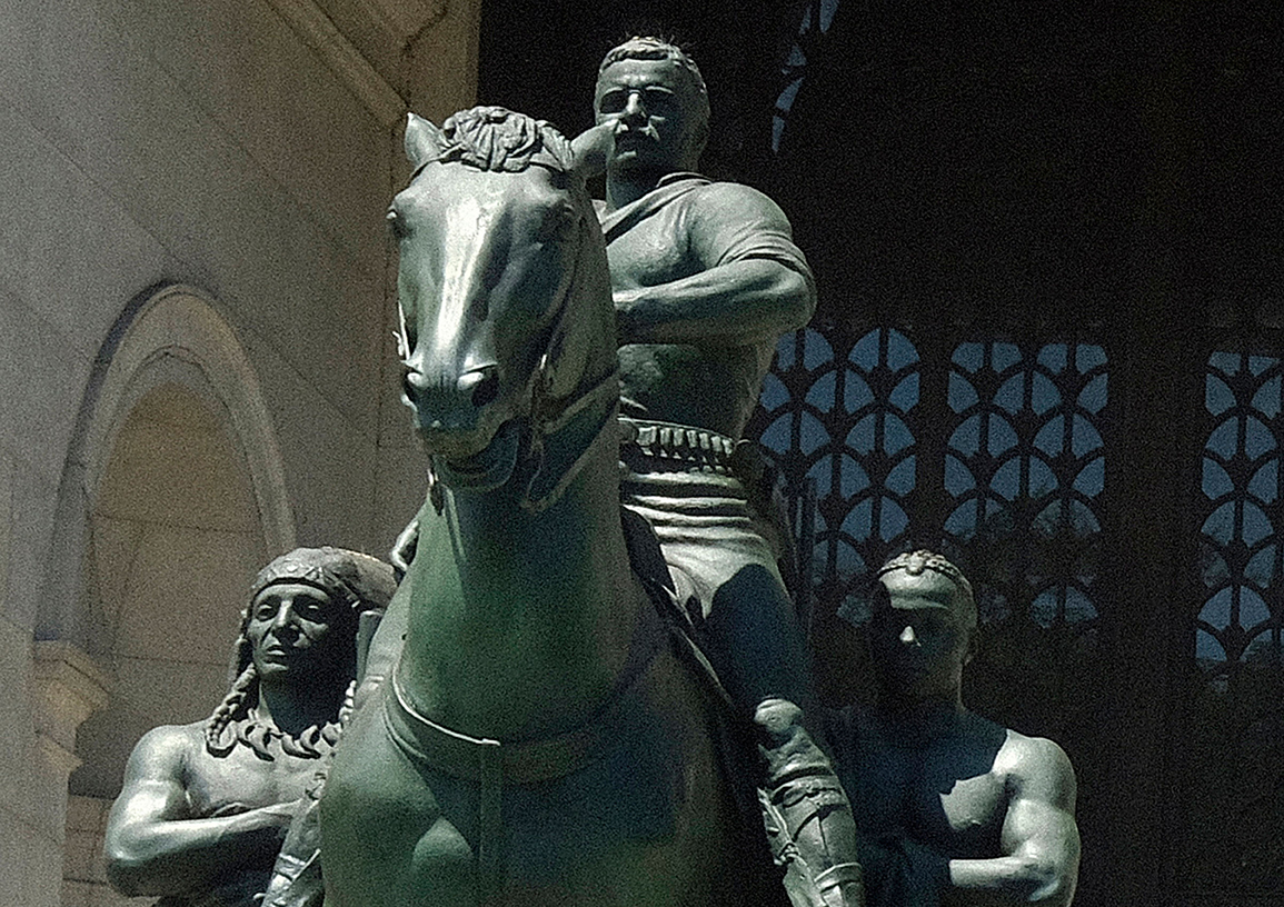 An NYPD car stands guard in front of a statue of U.S. President Theodore Roosevelt on a horse with an Indigenous person walking alongside him on his right as and an African American person walking alongside on his left is depicted at the entrance to the Museum of Natural History. For years, this symbol of American superiority has adorned the museum even as calls for its removal have been numerous.NYPD stand guard at Roosevelt statue, New York, USA - 17 Jun 2020 For years, this symbol of American superiority has adorned the museum even as calls for its removal have been numerous. A NYPD patrol car sits in front of statue for protection during the Black Lives Matter protests