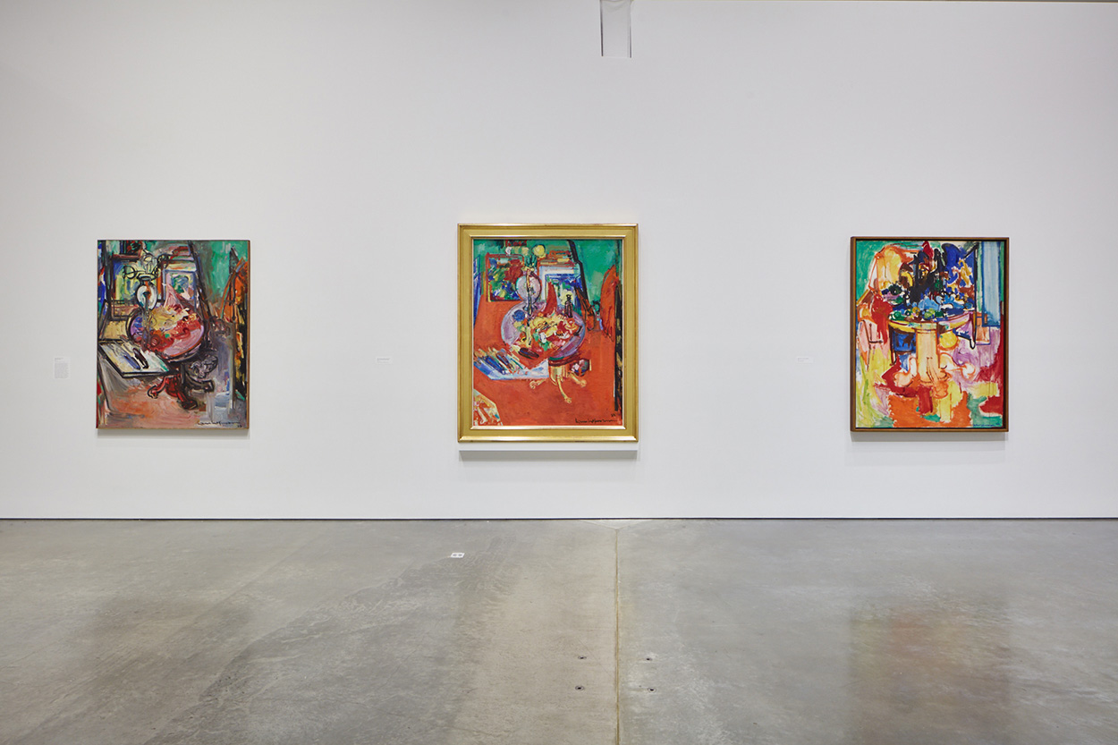 installation shot showing three gestural still life paintings by Hans Hoffman