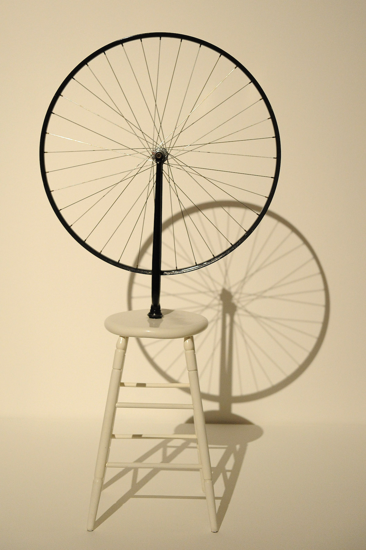 'Bicycle Wheel' by Marcel Duchamp 1964 (replica of 1913 original)'The Bride and the Bachelors' Duchamp with Cage,Cunningham, Rauschenberg and Johns, exhibition and dance programme, Barbican Gallery, London, Britain - 13 Feb 2013