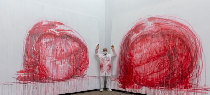 Zhang Huan in his studio.
