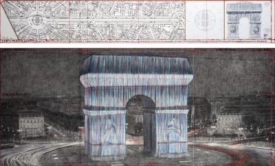 Christo: L'Arc de Triomphe, Wrapped (Project for Paris) Place de l'Etoile – Charles de Gaulle, 2019.