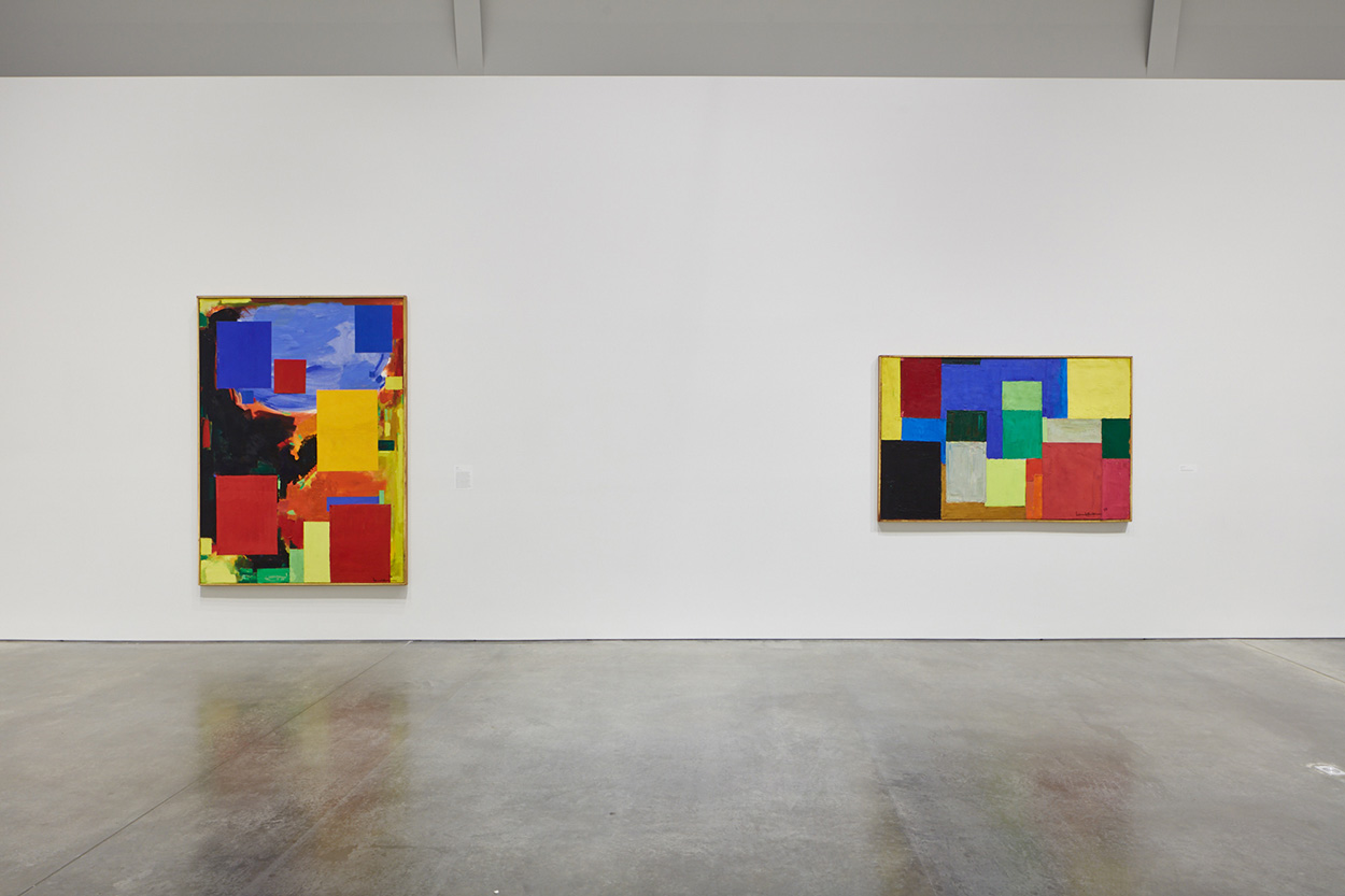 installation shot of two colorful abstract paintings by Hans Hofmann
