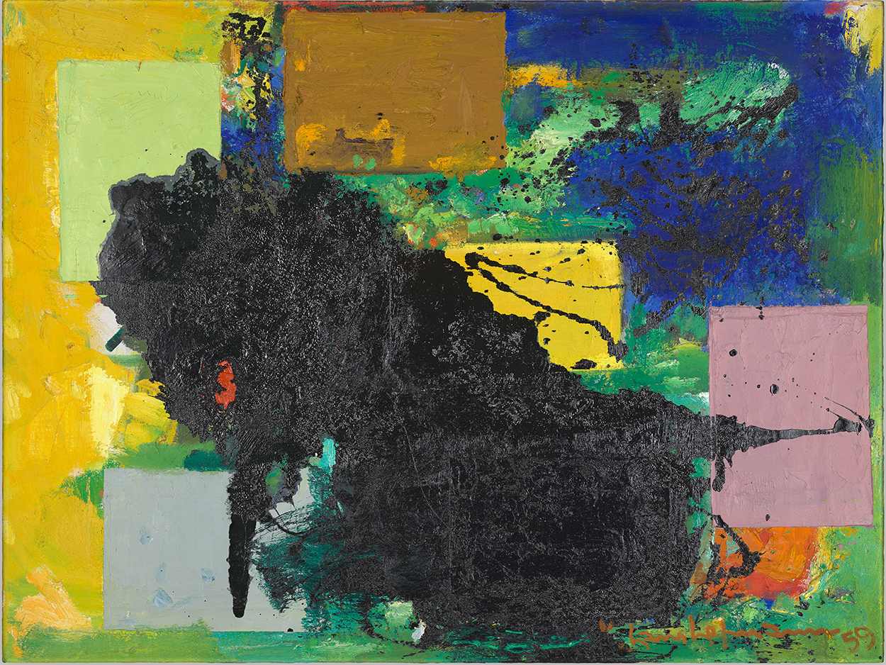 abstract painting with a large black splotch in the middle, surrounded by yellow, blue, pink, and gray rectangular shapes
