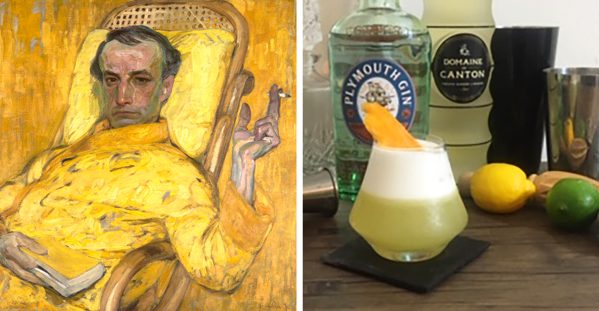 "Left: František Kupka, The Yellow Scale, ca. 1907. Right: ""Fugue in Yellow,"" a custom-made cocktail by MFAH beverage manager Harold Madison, inspired by Kupka's painting."