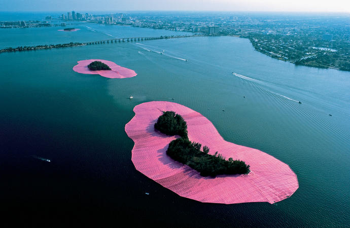 Christo and Jeanne-Claude: Surrounded Islands, Biscayne Bay, Greater Miami, Florida, 1980-83.