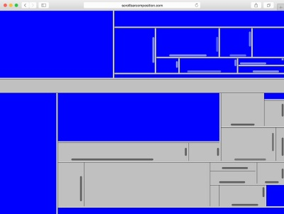 An abstract composition in blue and gray comprises html frames on a website