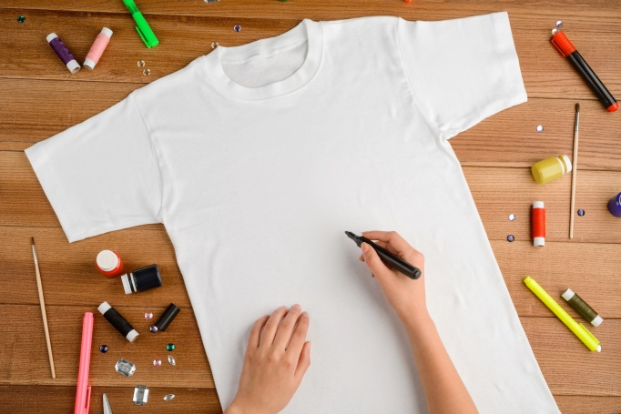 drawing on a white t-shirt