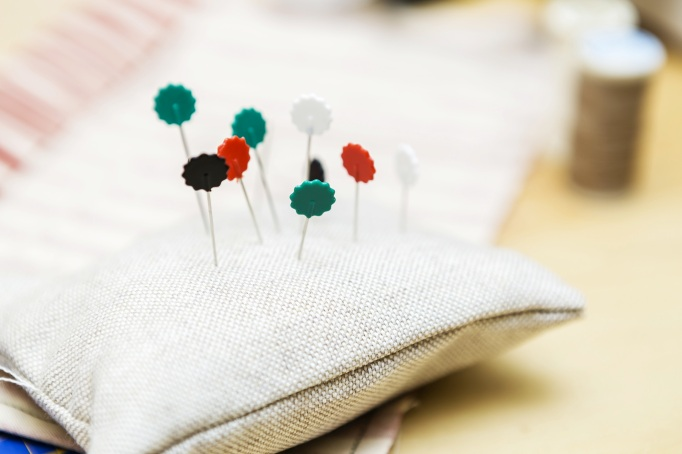 Quilting pins in pin-cushion