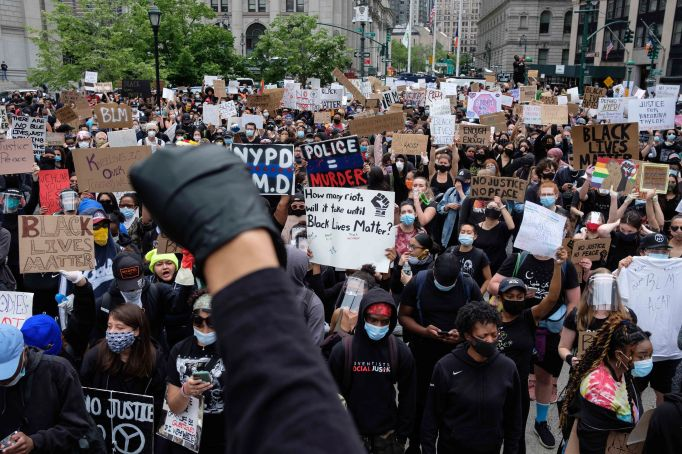 Protesters gather at Foley Square as