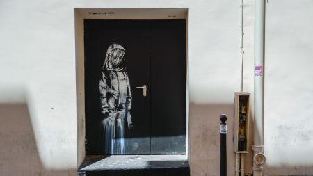 Banksy's artwork on the door of