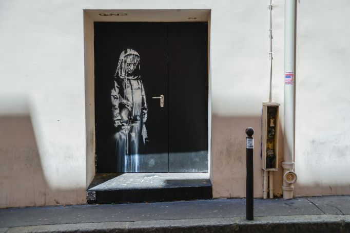 Banksy's artwork on the door of