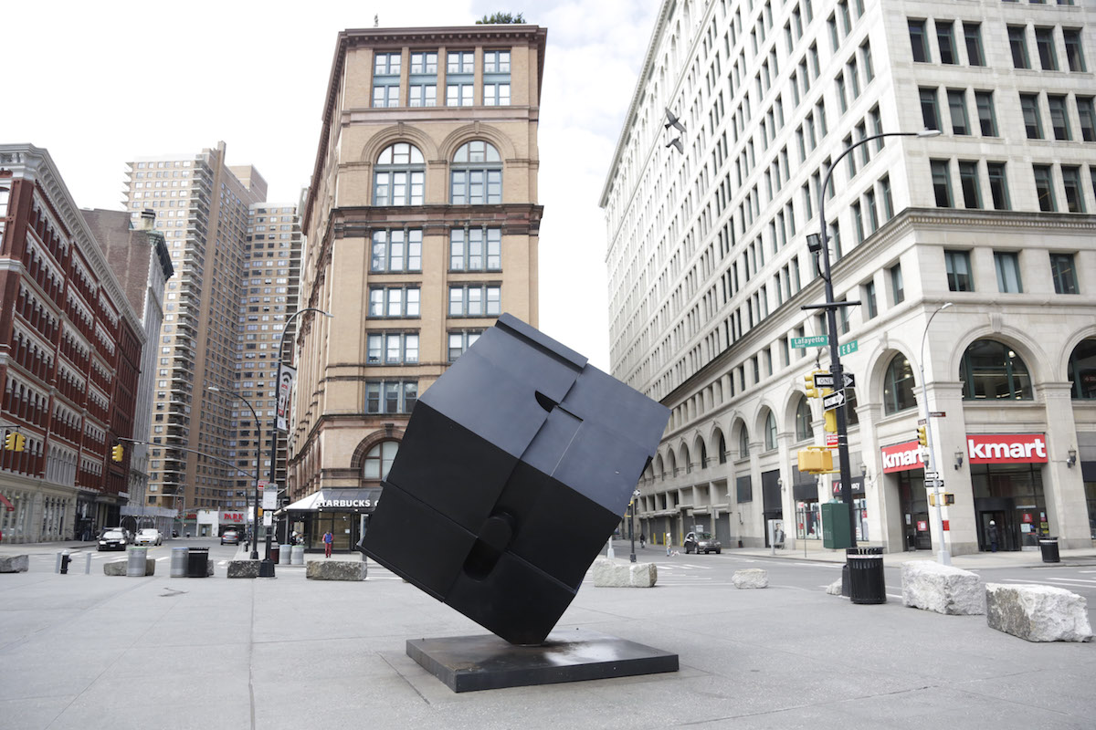 Tony Rosenthal's 'Alamo' is now situated in Astor Place in New York