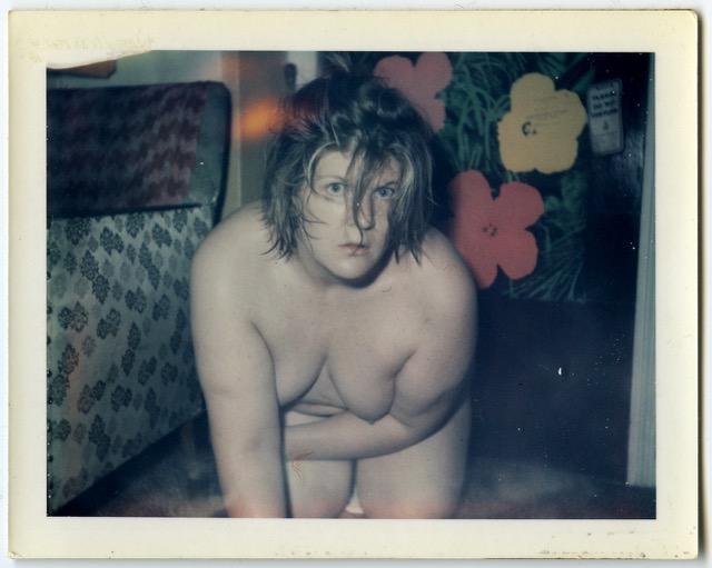 Brigid Berlin, Untitled (Self-Portrait with Flowers), ca. 1971-1973, Polaroid.