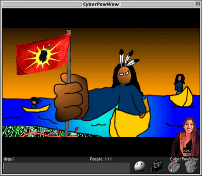 Cartoon renderings of Indigenous people arrive ashore on canoes, bringing a red flag with an Indigenous man's head in silhouette