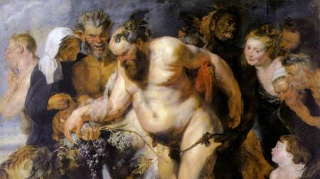 A drunk Silenus is surrounded by