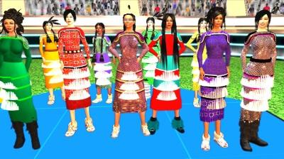 A digital rendering of ten jingle dancers at a futuristic powwow