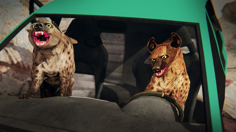 A digital image of two toothy hyenas cackling in the front seat of a green car