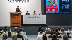 David Hockney's '30 Sunflowers' at auction at Sotheby's in Hong Kong.