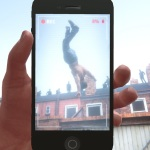 Image from a video game where the player views a figure flying into the sky through a camera phone