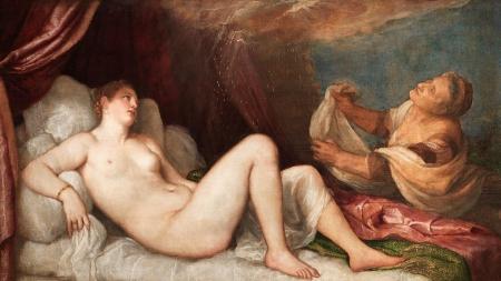 painting of Danaë lying nude on