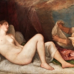 painting of Danaë lying nude on a bed with a servant to her right
