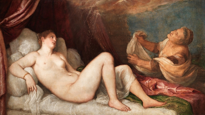 painting of Danaë lying nude on