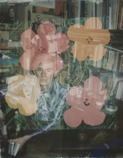 Brigid Berlin, Untitled (Double Exposure with Andy Warhol and Flowers), ca. 1971-1973, Polaroid.
