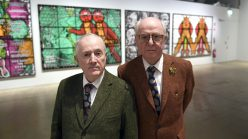 "British artist duo Gilbert and George at the opening of their exhibition ""The Major Exhibition"" at Helsinki Art Museum."