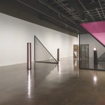 installation shot showing several geometric sculptures