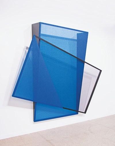 geometric wall piece made of blue screens