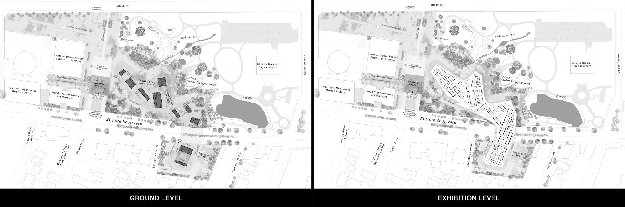 Exhibition and Ground level floorplan of David Geffen Galleries at LACMA
